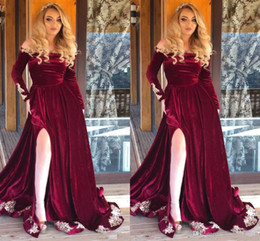 Event Jackets Wraps Australia - Long Sleeve Red Velvet Mermaid Prom Dresses Long 2019 High Neck Lace 3D Floral Applique Beading Event Evening Dress Party Gowns Sweep Train