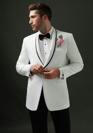 $enCountryForm.capitalKeyWord NZ - Vintage Men Suits White Groom Wedding Tuxedos Black Shawl Lapel Formal Groomsmen Suits Man Blazer Bride 2Piece Costume Bridegroom Jacket