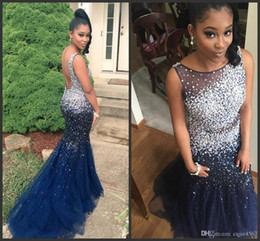 beaded illusion Australia - 2020 New Elegant Navy Blue Tulle Mermaid Long Prom Dresses Illusion Beaded Stones Floor Length Formal Party Evening Dresses Vestido 626