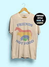 Hillbilly Friends Not Food Cotton T-shirt Vintage Tshirt Tee Regalo Para Vegan Camisa Vegetariana Natural Lindo Hippie 80s 90s Tops J190427 en venta