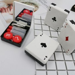 Cute Lenses Case Australia - Cute Poker Card Clubs Diamonds Hearts A Contact Lens Case For Lenses Container Box For Glasses
