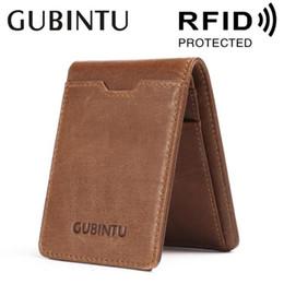 mini clip purses 2019 - GUBINTU RFID Blocking Slim Bifold Money Clip Wallet Vintage Thin Card Protection Cash Holder Pocket Purse For Man #30237