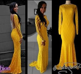 discount long red dresses Australia - Charming Yellow Prom Evening Dresses Black Girls Long Sleeves Open Back Sheath Real Photo Discount Formal Pageant Dress Gowns dress Cheap