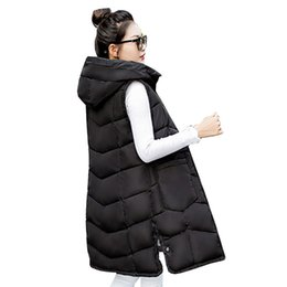 Wholesale Ukraine Winter Women Down Cotton Vest New Long Hooded Waistcoat Wadded Fork Jacket Coat Ladies fashion Overcoat Parkas