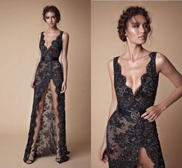 Nude High Slit Prom Dresses NZ - Sexy Berta Lace Evening Dresses Full Length 2019 High Front Slit Straps Sequins Beads Black Prom Party Gowns Fashion Women Pageant Dress