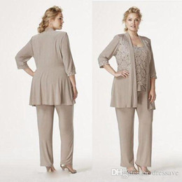 Wholesale breast pictures sizes online – design Vintage Champagne Gray Three Pieces Mother Of the Bride Suits Plus Size Lace Chiffon Mother Dresse Formal Wear Pant Suit