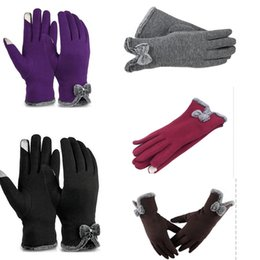 b33591f6400e4 Women Fashion Gloves Touch Screen Winter Autumn Warm PU leather Cotton  Fashion Bow Lady