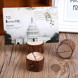 $enCountryForm.capitalKeyWord UK - 10 pcs lot Wooden Stump Picture Stand Table Number Stand Place Name Memo Card Holder Photo Clip Wedding Home Decoration