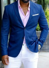 $enCountryForm.capitalKeyWord Australia - Men Blue Suits for Wedding Business Attire Man White Pants Tailored Made Groomsmen Blazer 2Piece Costume Homme Man Outfit Terno Masculino