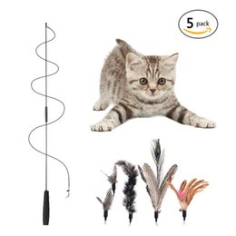 Wholesale fly cat for sale – custom Multi Feather Cat Teaser Cat Toy Pet ToyWith Replacement Heads Funny Feather Stick With A Bell Cats Toy Flying Training