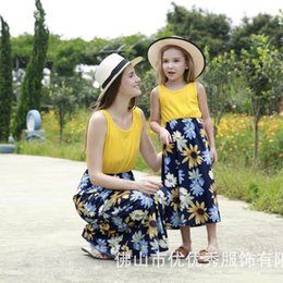Mother Daughter Family Matching Outfits Sleeveless Floral Dress Summer  Chiffon Girl Women Boho Loose Dresses Sundress Clothes 5f09ef46bb28