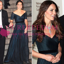 kate middleton long evening dress Canada - 2020 Vintage Kate Middleton Celebrity Dresses Navy Blue A Line Chiffon Off the Shoulder Pleat Evening Prom Dress