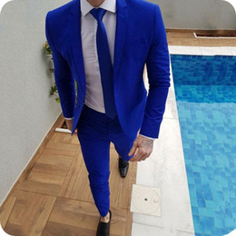 Wholesale groom coat pant tie suits for sale - Group buy 2019 New Arrival Royal Blue Prom Suits Groom Tuxedos Latest Coat Pants Designs Mens Wedding Suits Male Slim Fit Jacket Pants Tie