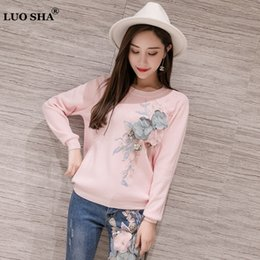 sweaters women flower 2019 - LUOSHA 2019 Women Autumn Winter Embroidery 3D Flower Knitted Pullover And Sweaters Top Female Fashion Jumper Pull Femme