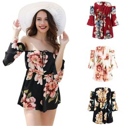 strapless white jumpsuit shorts NZ - 2019 Women Rompers Floral Print Jumpsuit Summer Short Pleated Overalls Jumpsuit Female Chest Wrapped Strapless Playsuit Flare Bell Sleeve