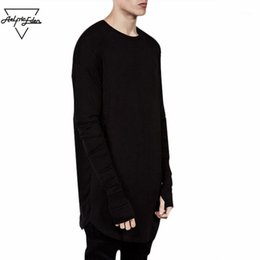 full sleeve tees men NZ - Wholesale-Wholesale Thumb Hole Long Full Sleeve Hipster Tee kpop for Men T-Shirt Solid Hip Hop Street T Shirt Black Hold Hand Mens Tshirts1
