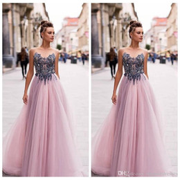 $enCountryForm.capitalKeyWord Australia - Sheer Beaded Top A-Line Tulle Prom Dresses Empire Waist Formal Special Occasion Party Gowns 2020 Customized Vestidos De Fiesta European