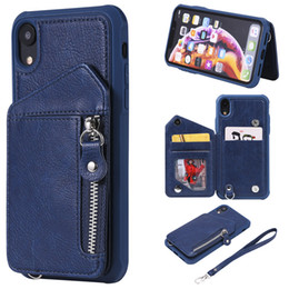 Iphone Case Double Card NZ - For iPhone XR Case Zipper Humanized Card Slot Design Cover Double buckle Stand shockproof Mobile Phone Cases