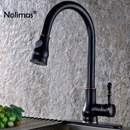Brushed Brass Kitchen Taps Australia - Brushed Brass Kitchen Faucet Black Finish Solid Pull Out Kitchen Mixers Tap 360 Degree Rotation Cold Hot Water Mixer Tap