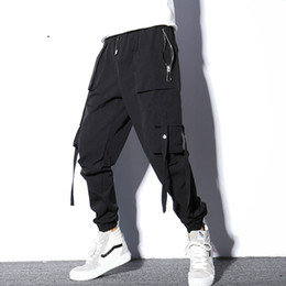 $enCountryForm.capitalKeyWord UK - #2319 Parkour Black Casual Harem Pants Men Big Pocket Ribbons Joggers Hip Hop Trousers For Men Plus Size Streetwear Dance M-XXXL