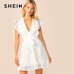 957c790398 SHEIN Plunging Neck Ruffle Armhole Schiffy Summer Dress 2019 Women Vacation Deep  V Neck Sexy Dress Cotton Sleeveless White