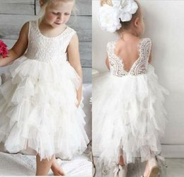 Tea Party Dresses White Canada - Most Cute A Line Jewel White Ivory Tiered Tulle Lace Flower Girls Dress For Wedding Tea Length Tulle Little Girls Party Communion Gowns