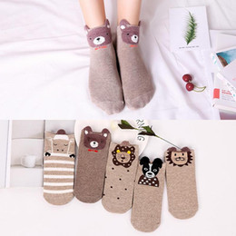 cartoon socks invisible NZ - 5pairs Cartoon Women Socks Cotton Invisible Socks Cute Animal Stereo Ear Girl Breathable Ankle Breathable For Girls