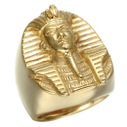 egypt gold wholesaler Canada - Egypt Vnox Pharaoh Shaped Rings For Men Metal Alloy Finger Ring Golden Color Easy To Carry Jewelry Accessories