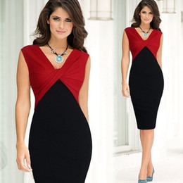 Red Bodycon Suits Australia - Women Elegant Sexy V-neck Ruffle Ruched Sleevesless Party Work Fitted Stretch Slim Wiggle Pencil Bodycon One Piece Dress Suit Y19051501