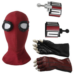 black spider man mask 2019 - ostumes Accessories Cosplay Costumes Spiderman Homecoming Mask Peter Benjamin Parker Cosplay Accessories Costume Hallowe