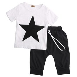Cool Animal T Shirts UK - Toddler boy summer cool outfit Kids Baby Boys Casual Star T-shirt Tops +Harem Pants 2 pcs Outfits Set 2-7Y