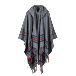 $enCountryForm.capitalKeyWord UK - New fashion women winter shawl and wraps thick warm blanket scarf oversize hooded black ponchos and capes striped tassel echarpe