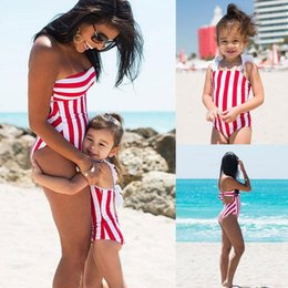 7028890908 Family Accessory 2019 New Clothing Red Striped Baby Girl Swimsuit Mother  And Daughter Swimsuit Parent-Child Bikini y-027856