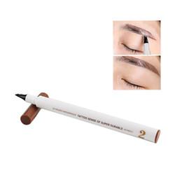 Wholesale Eye Pencils Australia - Eye Brow Eyeliner Eyebrow Pen 12.4 cm Dark Grey Water-Resistant Not blooming Pencil With Brush nature Makeup Cosmetic Tool