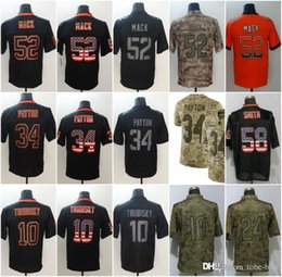 Chicago 52 Khalil Mack Jerseys 10 Mitchell Trubisky 34 Walter Payton Bears  2018 Salute to Service USA Flag Lights out Black Rush Drift 4b827a9f7