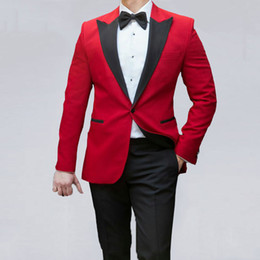 $enCountryForm.capitalKeyWord Australia - Black Peak Men Suits for Wedding Man Red Tuxedo Traje Hombre Business Man Blazer Costume Homme 2Piece(Coat Pants)Slim Fit Terno Masculino