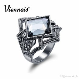 SetS viennoiS online shopping - Newest Viennois Fashion Jewelry Gun Color Geometric Finger Rings for Woman Rhinestone and Crystal Party Accessories
