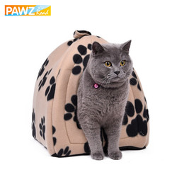 paw beds Canada - Wholesale Price Cat House and Pet Beds 5 Colors Beige and Red Purple, Khaki, Black with Paw Stripe, White with Paw Stripe Y200330