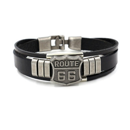 jewelry identification UK - 2019 New Casual Punk Men Route 66 Sign Narrow Leather Bracelet Balck Cuff Bangles Wristband Leather Jewelry Multilayer Accessories B125