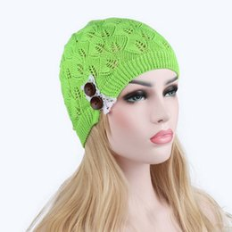 $enCountryForm.capitalKeyWord UK - 2018 Autumn Women Knitted Solid Hat With Button Hollow Out Leaves Lace Female Casual Beanies 6 Colors