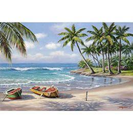 Hand Painting Beach Australia - Modern Art Oil Painting mediterranean Landscapes Tropical Bay Hand painted seascapes beach painting for home decor