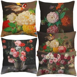 cushion cover black bird UK - European Retro Vintage Oil Painting Birds And Flowers Cushion Covers Bird Floral Art Pillow Cover Bedroom Linen Cotton Pillowcase