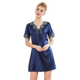 Fashion Short Gown Dresses UK - Women Night Dress Nightwear Summer Short Sleeve Sleep Shirt V-Neck Lace Night Dress Gown Fashion Elegant Short Kimono Nightgow