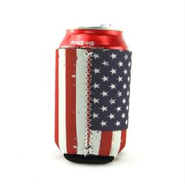 $enCountryForm.capitalKeyWord Australia - 100pcs Creative Neoprene Can Cooler Sleeve for Beer Cola Can Holder American flag Pattern Beer Soda Water Can Cover