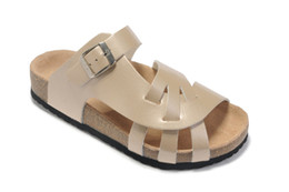 White Wood Flooring UK - Summer sports simple hot fashion women's slippers leather cork flat shoes wild casual shoes two buckle slippers