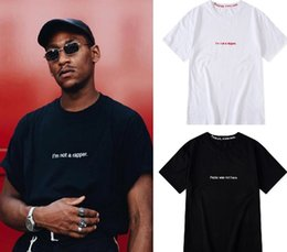 Wholesale modal white shirts online – design Mens Designer T Shirts Fashion Letter Printed Black White Short Sleeve Tee I m not a rapper Fablo is not here