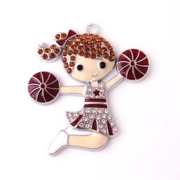 $enCountryForm.capitalKeyWord Australia - Cheerleader Rhinestone Cartoon Figure Dance Girl Pendant Cheerleading Girl Jewelry