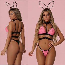 bd8f8254d79 Women s Sexy Lace Lingerie Underwear Sets Sleeveless Halter Babydoll Bra  G-string Thong 2Pcs Ladies Bra   Brief Sets