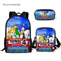 gold hedgehog 2019 - ELVISWORDS Fashion 3PCs Set Backpack Sonic The Hedgehog Pattern Students School Bags Cartoon Backpack Messenger Bag Pen