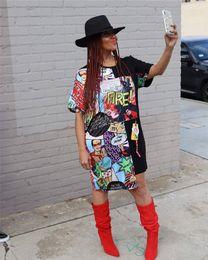 $enCountryForm.capitalKeyWord Australia - Womens Summer Batwing Sleeve Dresses Fire Print Casual Clothing Sheath Above Knee Crew Neck Fashion Apparel